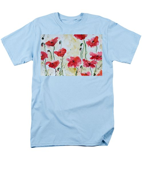 Men's T-Shirt  (Regular Fit) featuring the painting Feel The Summer 1 - Poppies by Ismeta Gruenwald