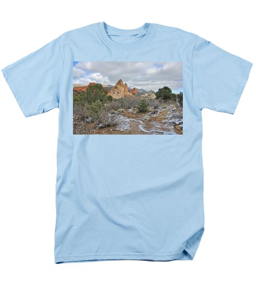 Men's T-Shirt  (Regular Fit) featuring the photograph First Snow At Garden Of The Gods by Diane Alexander
