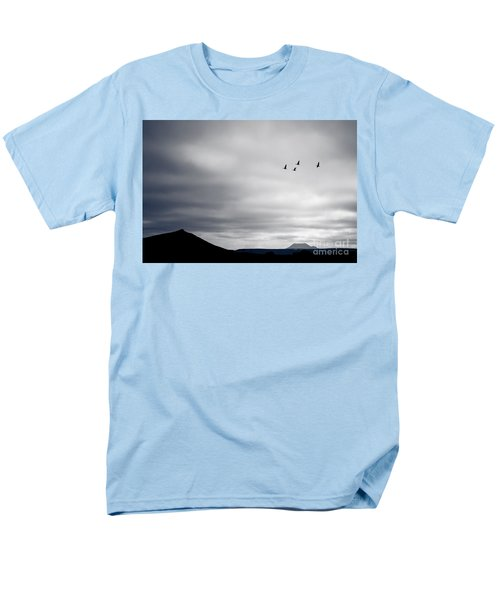 Men's T-Shirt  (Regular Fit) featuring the photograph Geese Flying South For Winter by Peta Thames