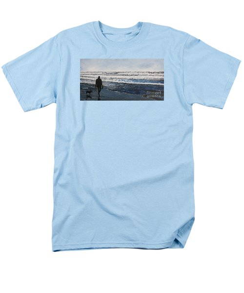 Girl And Dog Walking On The Beach Men's T-Shirt  (Regular Fit) by Ian Donley