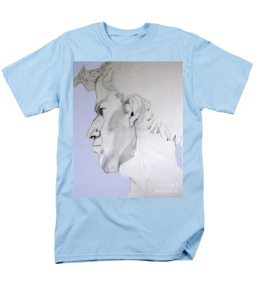 Men's T-Shirt  (Regular Fit) featuring the drawing Graphite Portrait Sketch Of A Young Man In Profile by Greta Corens
