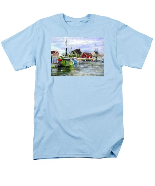 Men's T-Shirt  (Regular Fit) featuring the painting Peggys Cove Nova Scotia Watercolor by Carol Wisniewski