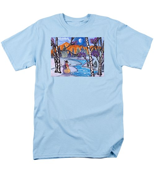 Men's T-Shirt  (Regular Fit) featuring the painting Happy Snowman by Connie Valasco