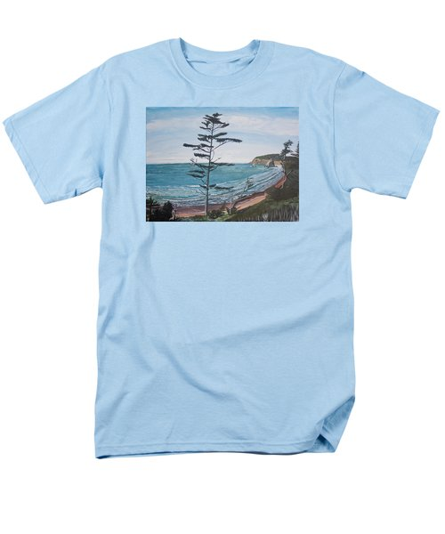 Men's T-Shirt  (Regular Fit) featuring the painting Hay Stack Rock From The South On The Oregon Coast by Ian Donley