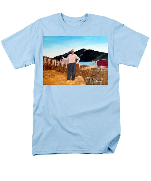 Haymaker With Pitchfork  Men's T-Shirt  (Regular Fit) by Barbara Griffin