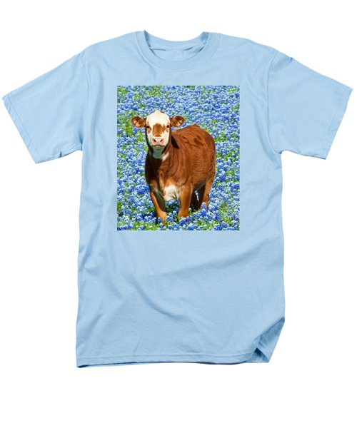 Men's T-Shirt  (Regular Fit) featuring the photograph Heres Looking At You Kid - Calf With Bluebonnets In Texas by David Perry Lawrence