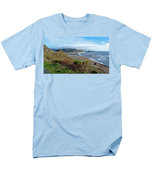 Highway 1 Near Outlet Of Russian River Into Pacific Ocean Near Jenner-ca  Men's T-Shirt  (Regular Fit) by Ruth Hager