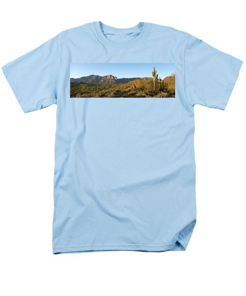 Hiker Standing On A Hill, Phoenix Men's T-Shirt  (Regular Fit) by Panoramic Images