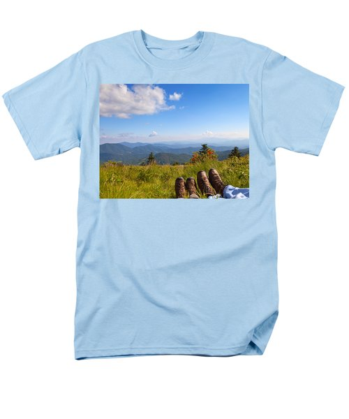 Hikers With A View On Round Bald Near Roan Mountain Men's T-Shirt  (Regular Fit) by Melinda Fawver