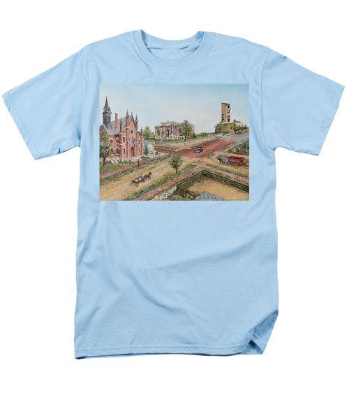Men's T-Shirt  (Regular Fit) featuring the painting Historic Street - Lawrence Kansas by Mary Ellen Anderson