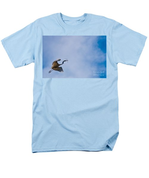 Hopeful Egret Building A Home  Men's T-Shirt  (Regular Fit) by Terry Garvin