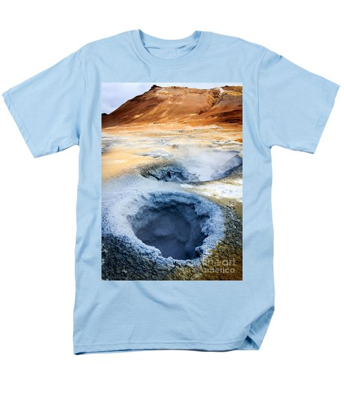 Men's T-Shirt  (Regular Fit) featuring the photograph Hot Springs At Namaskard In Iceland by Peta Thames