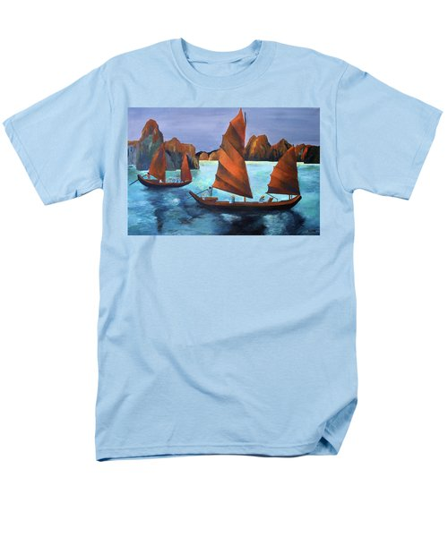 Men's T-Shirt  (Regular Fit) featuring the painting Junks In The Descending Dragon Bay by Tracey Harrington-Simpson