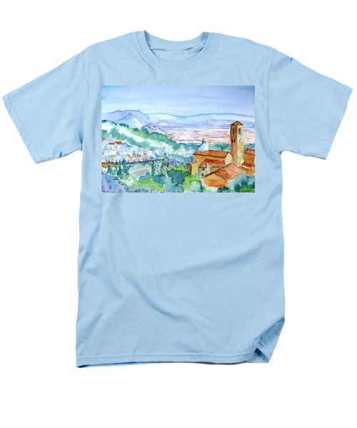 Men's T-Shirt  (Regular Fit) featuring the painting Tuscany Valley  Medieval Village Of Massa by Trudi Doyle