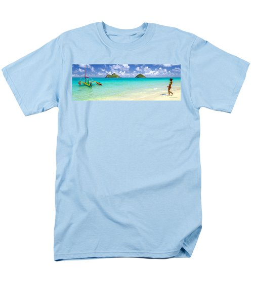 Men's T-Shirt  (Regular Fit) featuring the photograph Lanikai Beach Paradise 3 To 1 Aspect Ratio by Aloha Art