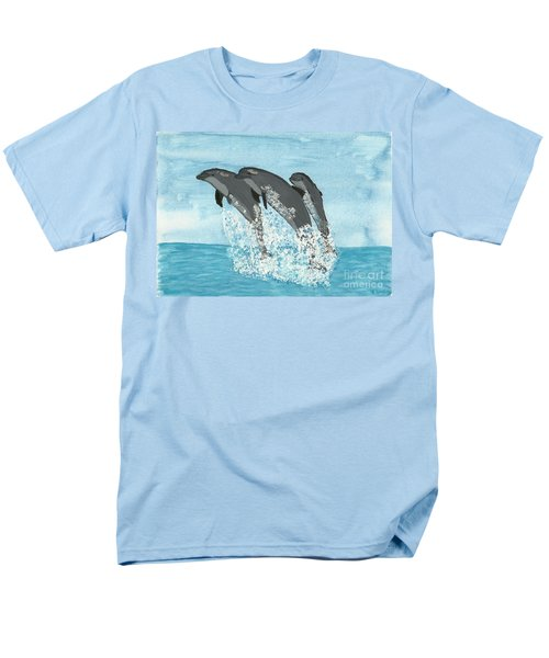 Men's T-Shirt  (Regular Fit) featuring the painting Leaping Dolphins by Tracey Williams