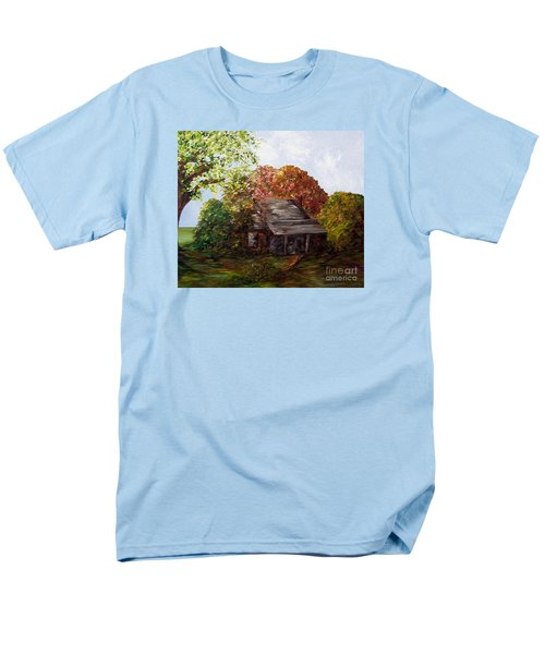 Men's T-Shirt  (Regular Fit) featuring the painting Leaves On The Cabin Roof by Eloise Schneider
