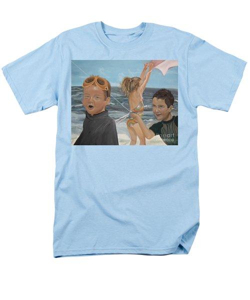 Beach - Children Playing - Kite Men's T-Shirt  (Regular Fit) by Jan Dappen