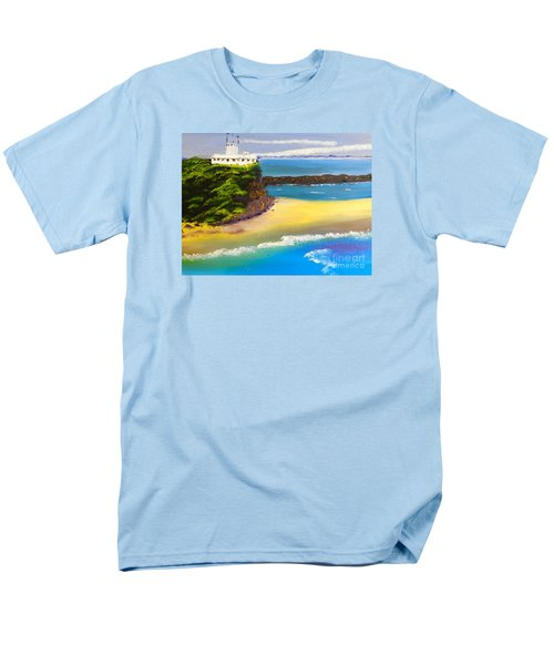 Men's T-Shirt  (Regular Fit) featuring the painting Lighthouse At Nobbys Beach Newcastle Australia by Pamela  Meredith