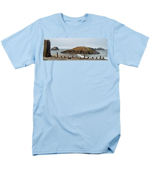 Looking Out On The Pacific Ocean From The Sutro Bath Ruins In San Francisco  Men's T-Shirt  (Regular Fit) by Jim Fitzpatrick