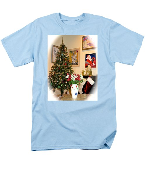 Love In Our Hearts And Santa In The Corner Men's T-Shirt  (Regular Fit) by Phyllis Kaltenbach