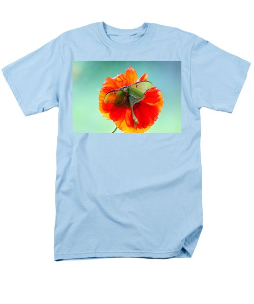 Luna Moth On Poppy Aqua Back Ground Men's T-Shirt  (Regular Fit) by Randall Branham