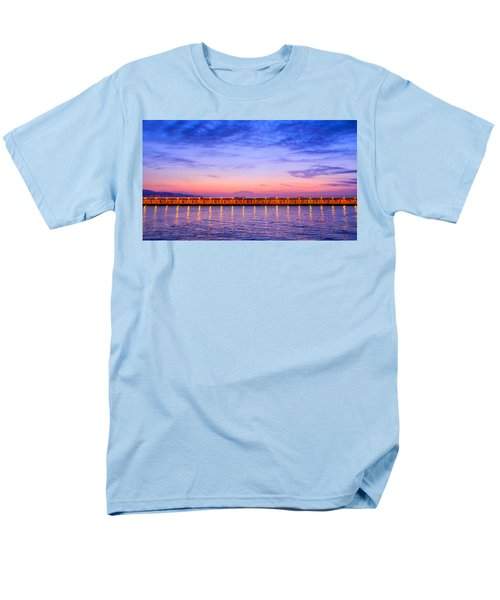 Men's T-Shirt  (Regular Fit) featuring the photograph Malaga Pink And Blue Sunrise  by Debra Martz