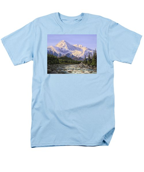 Majestic Denali Alaskan Painting Of Denali Men's T-Shirt  (Regular Fit) by Karen Whitworth