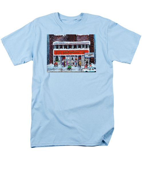 Men's T-Shirt  (Regular Fit) featuring the painting Memories Of Winter At Woolworth's by Rita Brown