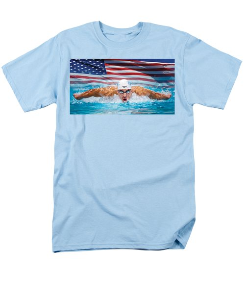 Michael Phelps Artwork Men's T-Shirt  (Regular Fit) by Sheraz A