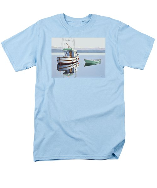 Morning Calm-fishing Boat With Skiff Men's T-Shirt  (Regular Fit) by Gary Giacomelli