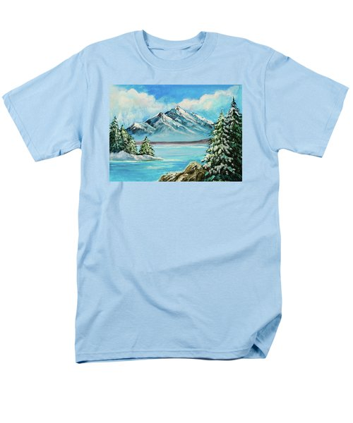 Men's T-Shirt  (Regular Fit) featuring the painting Mountain Lake In Winter Original Painting Forsale by Bob and Nadine Johnston