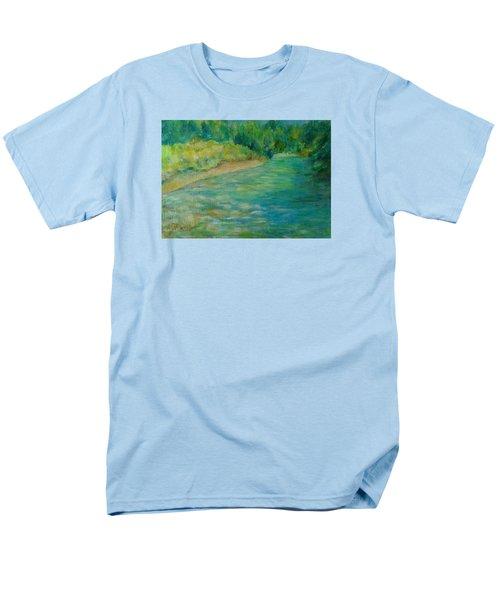 Mountain River In Oregon Colorful Original Oil Painting Men's T-Shirt  (Regular Fit) by Elizabeth Sawyer