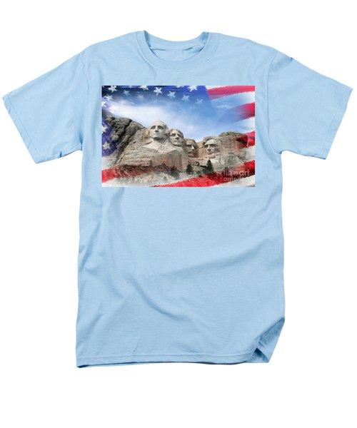 Mt Rushmore Flag Frame Men's T-Shirt  (Regular Fit) by David Lawson