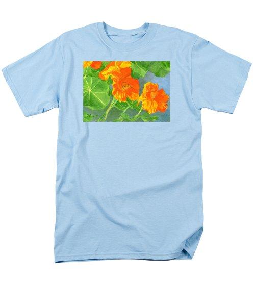 Nasturtiums Flowers Garden Small Oil Painting Men's T-Shirt  (Regular Fit) by Elizabeth Sawyer