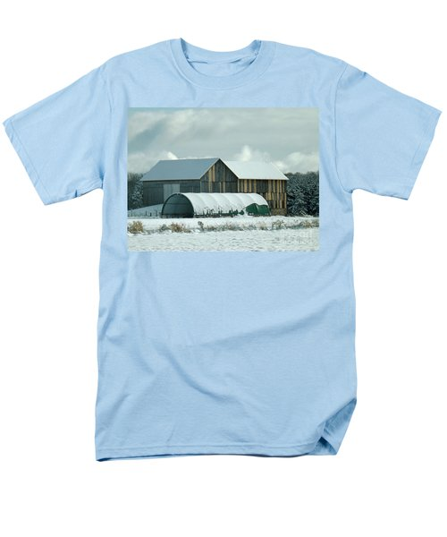 Men's T-Shirt  (Regular Fit) featuring the photograph New And Old Barn Planks by Brenda Brown