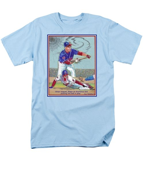 Men's T-Shirt  (Regular Fit) featuring the mixed media Omar Vizquel Shortstop Magic by Ray Tapajna
