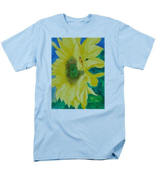 One Bright Sunflower Colorful Original Art Floral Flowers Artist K. Joann Russell Decor Art  Men's T-Shirt  (Regular Fit) by Elizabeth Sawyer