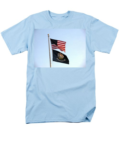Men's T-Shirt  (Regular Fit) featuring the photograph Patriotic Flags by Joseph Baril