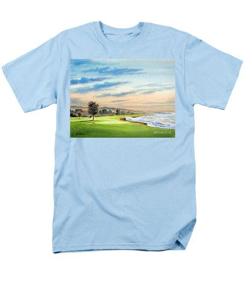 Pebble Beach Golf Course 18th Hole Men's T-Shirt  (Regular Fit) by Bill Holkham