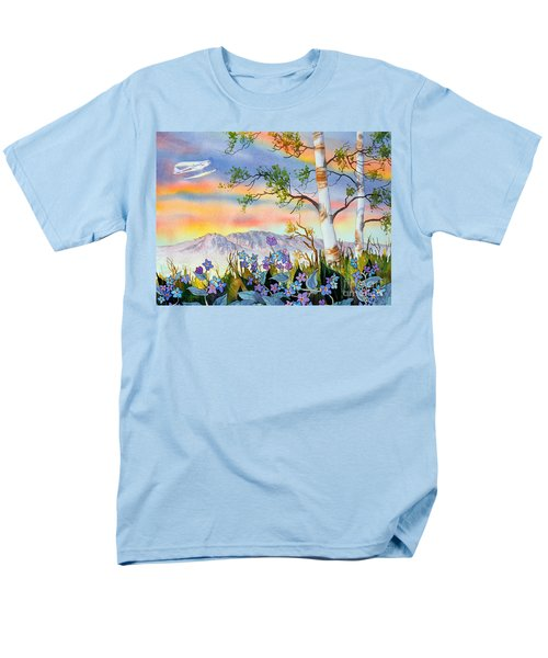 Men's T-Shirt  (Regular Fit) featuring the painting Piper Cub Over Sleeping Lady by Teresa Ascone