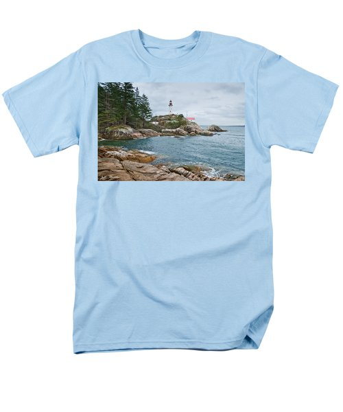 Men's T-Shirt  (Regular Fit) featuring the photograph Point Atkinson Lighthouse And Rocky Shore by Jeff Goulden