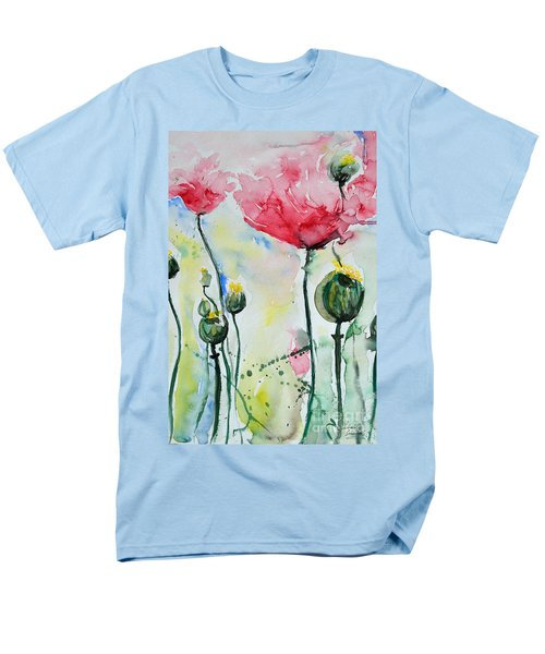 Men's T-Shirt  (Regular Fit) featuring the painting Poppies by Ismeta Gruenwald
