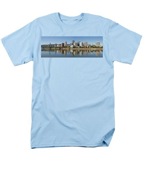 Men's T-Shirt  (Regular Fit) featuring the photograph Portland Downtown Waterfront Skyline Panorama by JPLDesigns