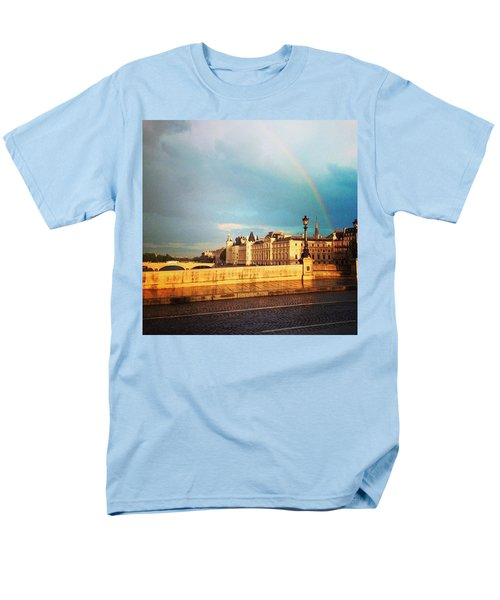 Rainbow Over The Seine. Men's T-Shirt  (Regular Fit) by Allan Piper