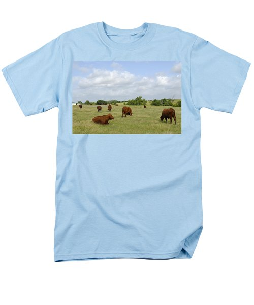 Men's T-Shirt  (Regular Fit) featuring the photograph Red Angus Cattle by Charles Beeler
