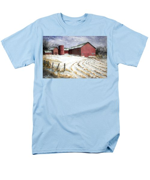 Men's T-Shirt  (Regular Fit) featuring the painting Red Barn On Rt. 49 by Roger Rockefeller
