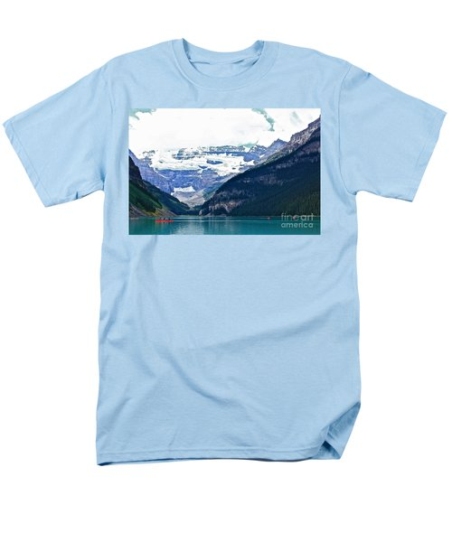Men's T-Shirt  (Regular Fit) featuring the photograph Red Canoes Turquoise Water by Linda Bianic