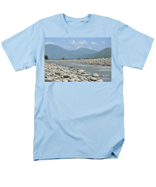 Men's T-Shirt  (Regular Fit) featuring the photograph Riverbank Water Rocks Mountains And A Horseman Swat Valley Pakistan by Imran Ahmed