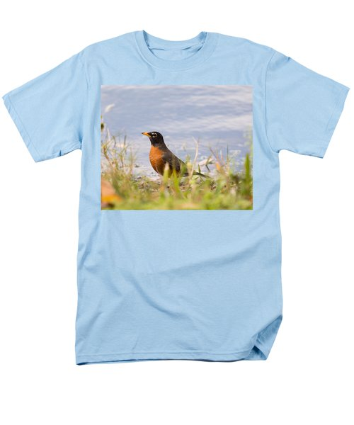 Men's T-Shirt  (Regular Fit) featuring the photograph Robin Viewing Surroundings by John M Bailey